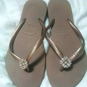 Havianas Gold Bejeweled Flip Flops